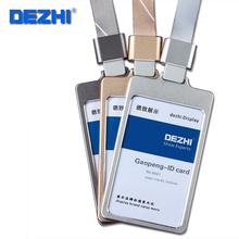 DEZHI Authentic high gloss process work card holder Metal card set with lanyard ID card case