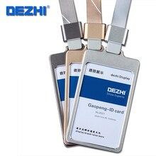 Хорошее DEZHI-подлинный high gloss процесс работы держатель для карт, металлический набор карт с шнурки, ID card case Красочные Повесить веревку, настроить логотип