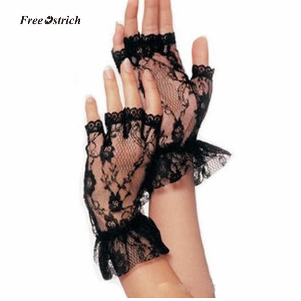 Free Ostrich Soft Gloves Ladies Short Black Lace Fingerless Gloves Net Goth Gothic Fancy Dress Weddingg tights stockings 2019