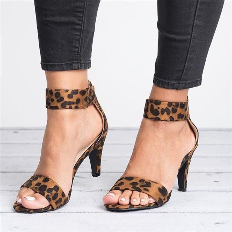 2019 Women Pumps Leopard High Heels New Women Shoes Summer Women Sandals Kitten Heels Zipper Women Heels Female Plus Size 43