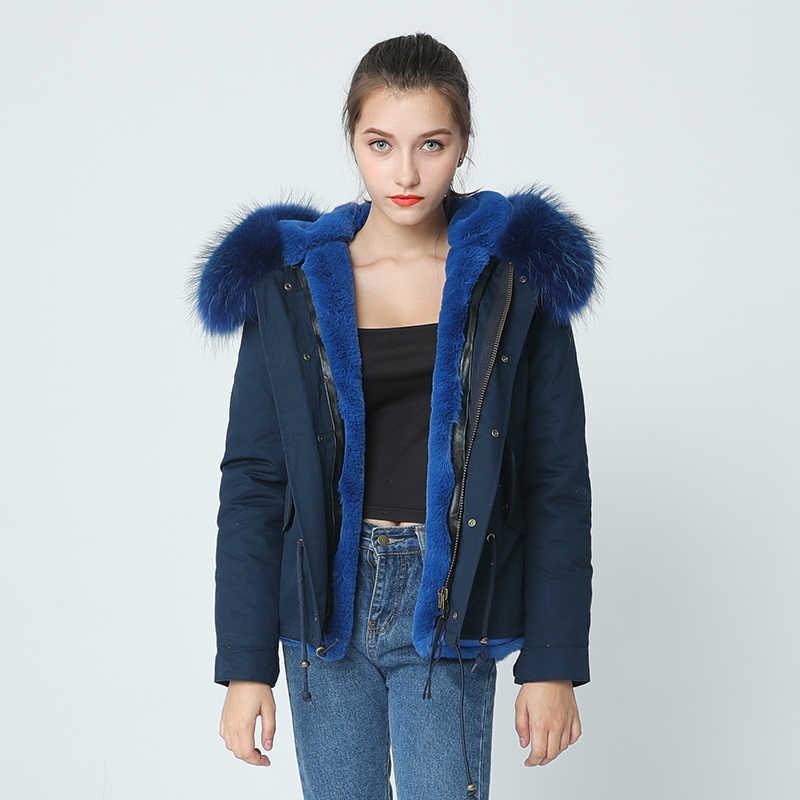... OFTBUY 2019 azul marino parka abrigo chaqueta de invierno las mujeres  real de piel de abrigo ... eb4c2d153148