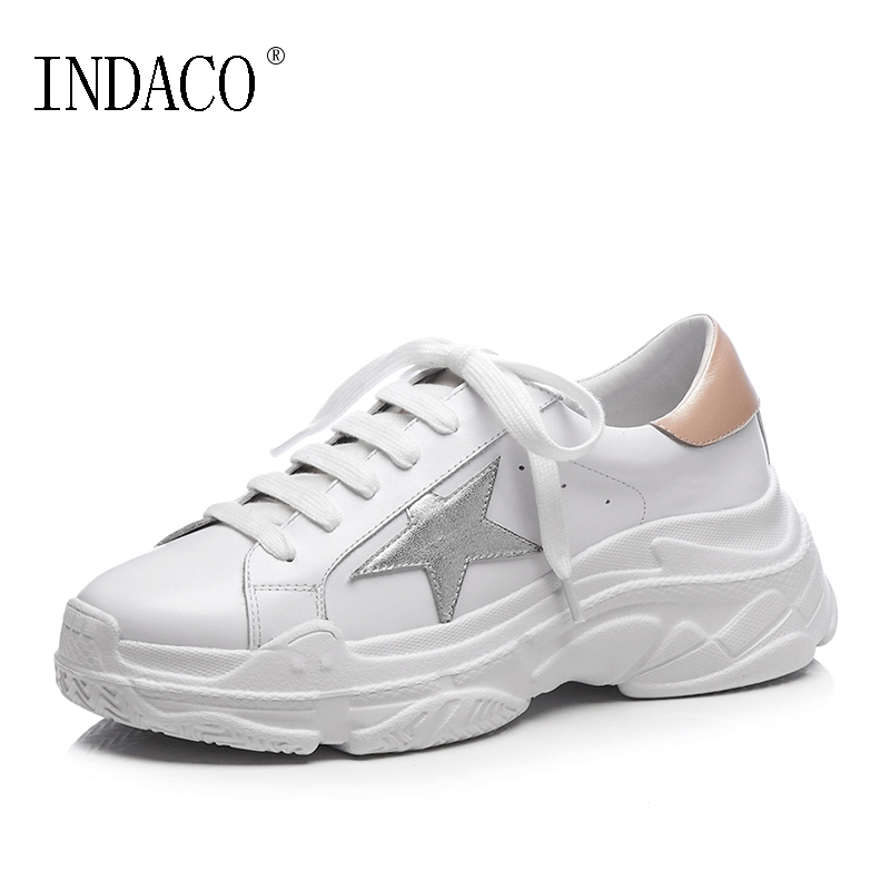 2018 Fashion Women Leather Sneakers White Breathable Five Star Casual Shoes Lace Up 6.5cm Chaussures De Sport Femme