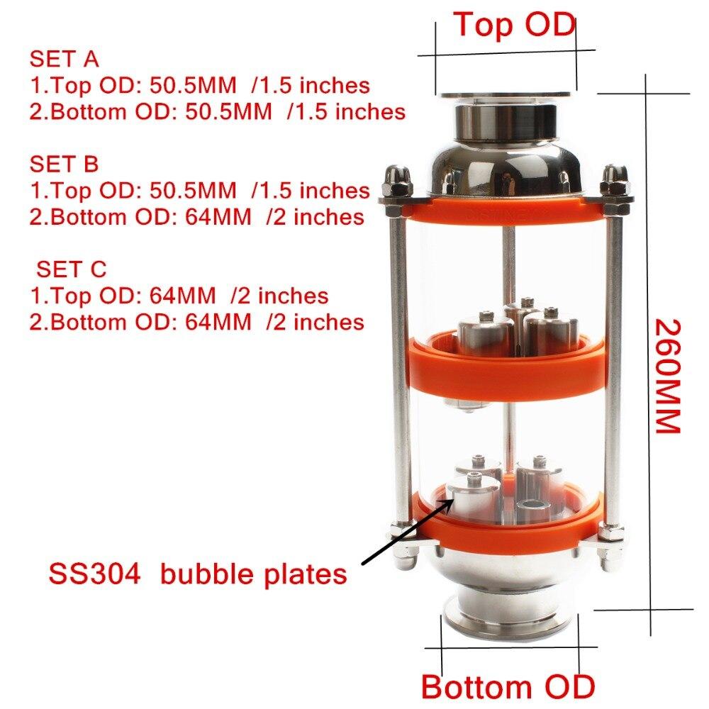 In acciaio inox 304 bolla piastre di Distillazione Colonna con 2 sezione per la distillazione. Colonna di vetro-in Macinini da Casa e giardino su  Gruppo 1