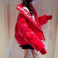 Winter Fashion Women's Glossy Waterproof Down Cotton Jacket Letter Pattern Long Sleeve Warm Coat Cotton padded Outerwear L1747
