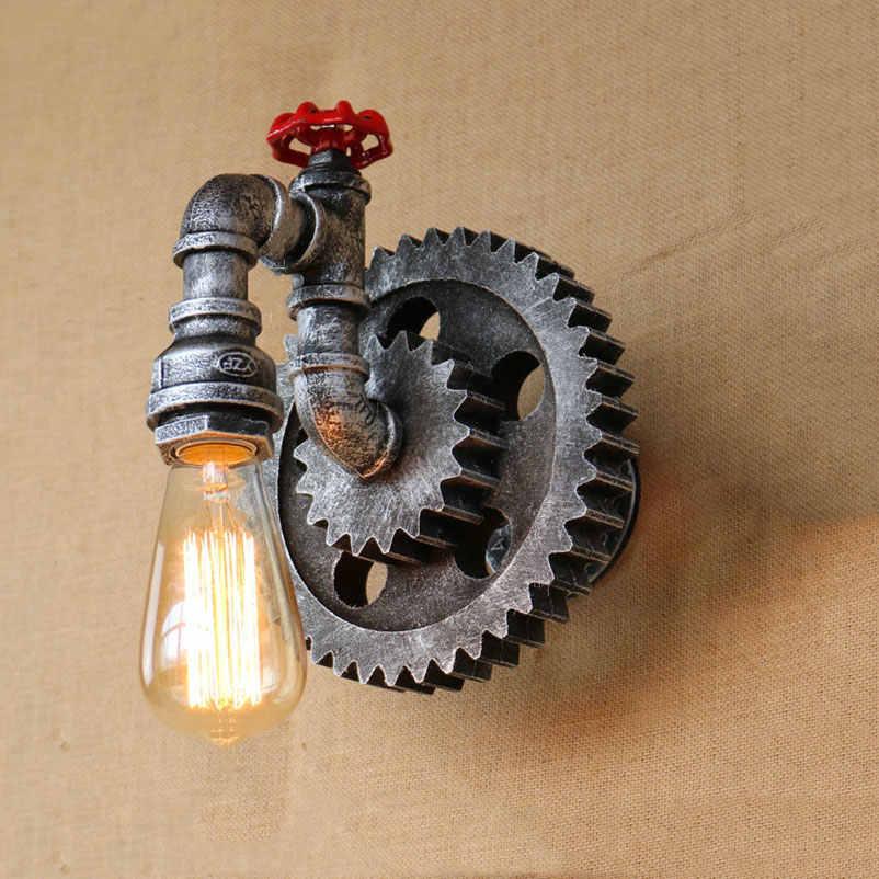 Винтаж настенная стальная труба лампы для мотоциклов Ретро Лофт гостиная спальня бар клуб паб Отель Ресторан лампы для кафе Творческий бра бюстгальтер