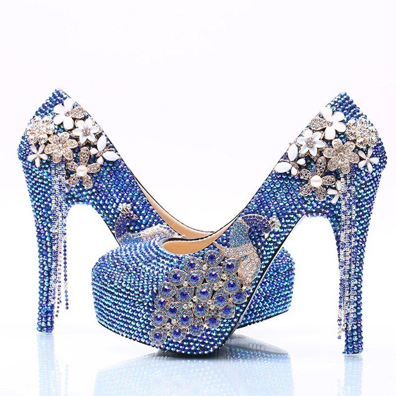 11cm Mariage 14cm Diplômé Magnifique 5cm D'adieu Royal Cérémonie Blue 8cm Strass Bleu De Cristal Ab blue Robe Pompes Phoenix Heels Mariée Heels Mode Chaussures qXTB7zxw