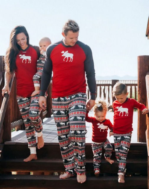 Family Pajamas Set Moose Adult Women Kids New 2017 Christmas Deer Nightwear Pyjamas