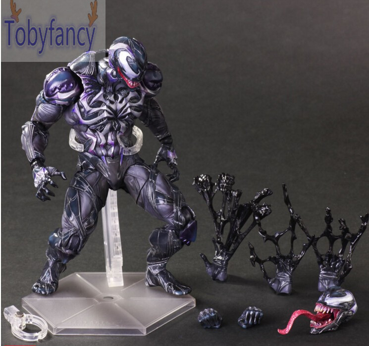 Venom Action Figure Play Arts Kai Spider Man Series Venom Spride Anime Amazing Spiderman Model Toys 260MM Playarts T industrial vintage table lamp simple water pipes desk light cafe bar small table light contain led bulbs mesa loft art lighting