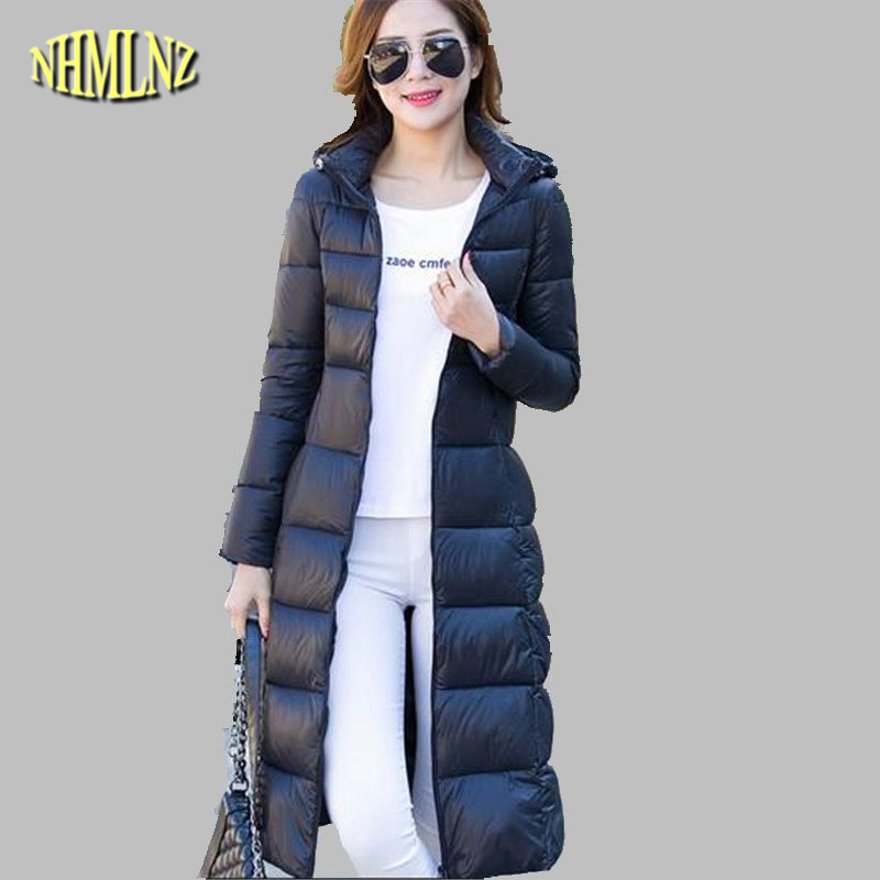 Winter Coat Latest Fashion Hooded Women Down jacket Long sleeve Medium long Cotton Jacket Slim Big yards Leisure Warm Coat G2729