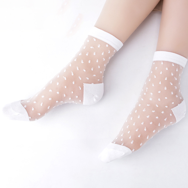 2019 Hot Summer Women   Socks   Female Thin Crystal Glass Silk Transparent   Socks   Girls Stretch   Socks   Chaussette Femme Calcetines