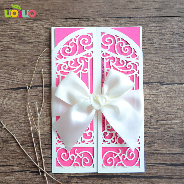 Diy Customzied Inc220 Europe Wedding Invitations Card Gate Tied White Bow Print Insert