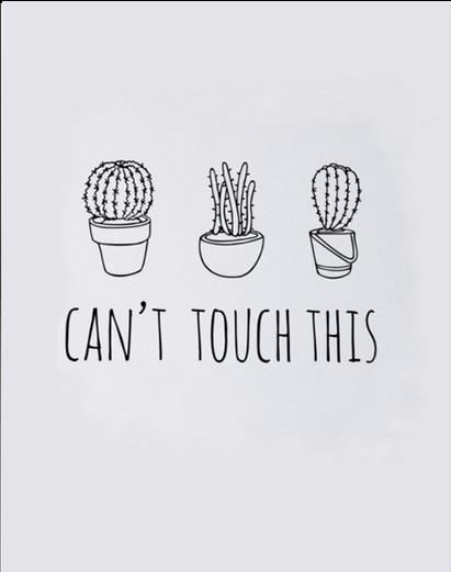 Canvas Print Art , Can't Touch Print Cactus Art Print Word