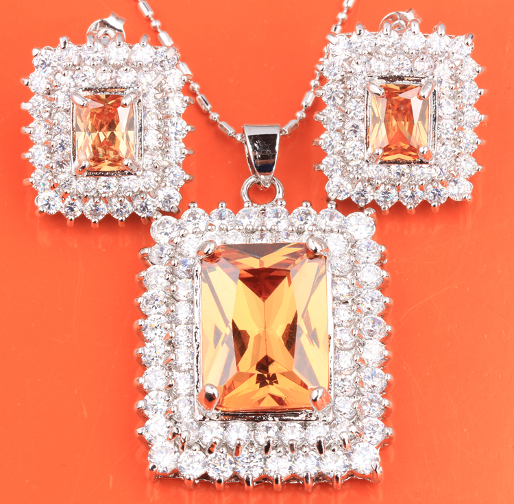 Superb Orange Champagne Morganite 925 Sterling Silver Necklace Jewelry Sets Earrings Pendant S8333