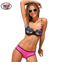 NAKIAEOI 2017 Sexy Bikinis Women Swimwear Bathing Suits Swim Halter Swimsuit Push Up Bikini Set Printing