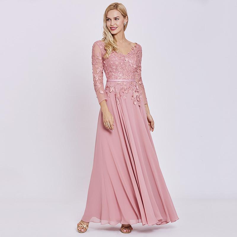 6655befa833 Tanpell appliques long evening dress elegant peach full sleeves floor length  a line gown women chiffon formal evening dresses. 1 4 ...