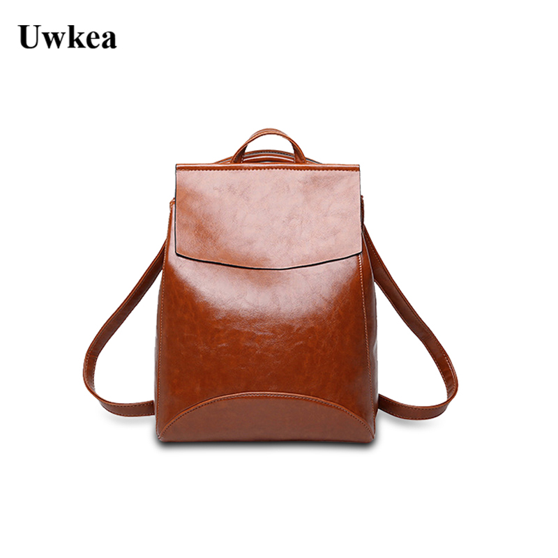 Uwkea New Style Double Shoulder Female Split Leather Version College Wind Multi-function Leisure Female Cowhide Backpack
