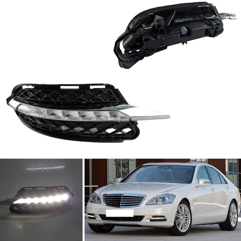2 Pcs Auto Car LED Daytime Running Light White DRL Daylight Fog Lights For Benz S-Class W221 S300 S500 S350 S600 2009-2012 11 10 auto part car styling drl for m ercedes b enz c class w2014 2011 2012 car drl daytime running light daylight