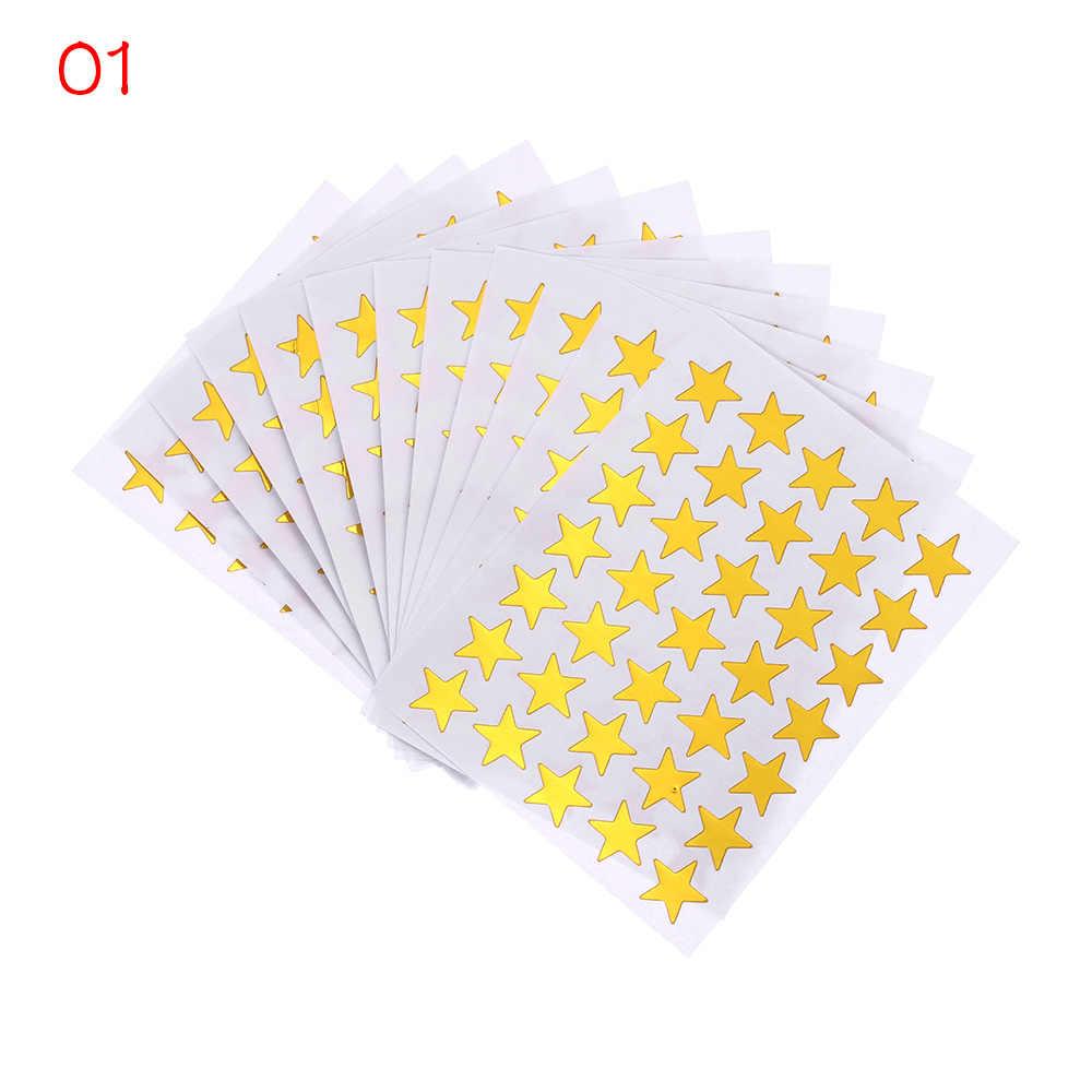 10 unids/bolsa pegatinas Flash de recompensa de Oro para niños madre maestra alaba estrella de cinco puntas cara sonriente pegatinas de regalo