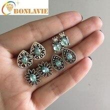 цена на New Arrival 4 Pair Vintage Rhinestones Earrings Set Fashion Jewelry Elegant Water Droplet Earrings For Women
