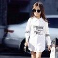 2016 Последние Блузка для Школы Teen Девушки Белая Блузка Дети Рубашка Модная Одежда для Age5 6 7 8 9 10 11 12 13 14 Т Лет