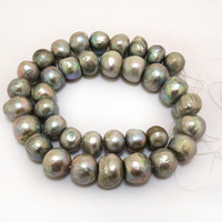 16 inches 13-15mm Silver Grey Natural Freshwater Large Baroque Pearl Loose Strand for Necklace