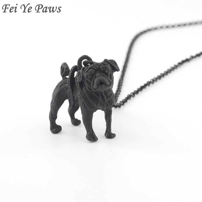 Fei Ye Paws Black Pug Necklaces & Pendants Boho Charms Dog Jewelry For Women Men Long Necklace Best Friend Gift 2018 Choker