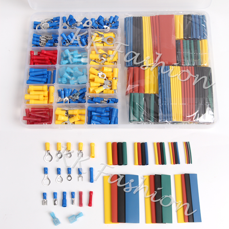 230 PCS Insulated Crimp Terminals Butt connectors & 328 PCS Assorted 2:1 Heat Shrink Tubing Shrinkable Sleeving Tubes Kit diy 530pcs assorted uninsulated electrical connectors crimp terminals 135pcs heat shrink tubing