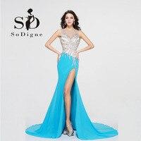 Prom Dress 2017 SoDigne Crystal Naakt Terug Kralen Steekzakken Bling Hot Koop Elegant Lange Prom Chiffon Steentjes
