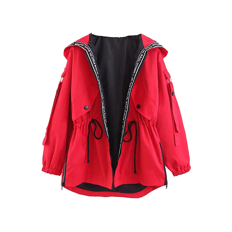 Oversize Girls Hooded Jackets 2019 Spring-Autumn Chic Patchwork Coats Women-s Loose Bomber Jacket Street-wear Outfits Plus Size