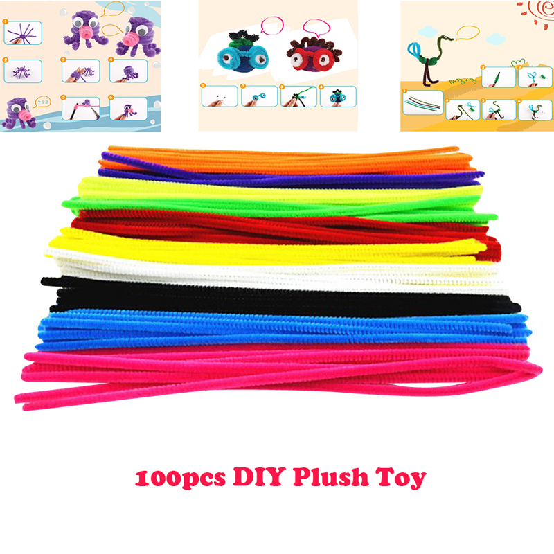 100pcs Montessori Materials Chenille Plush Toy Children Early Educational Toy Kids Pipe Cleaner Toy Gift Colorful DIY Art Crafts
