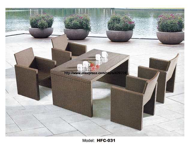 Online Shop Small Garden Table Chair Set 130cm Table 4 Chairs Rattan
