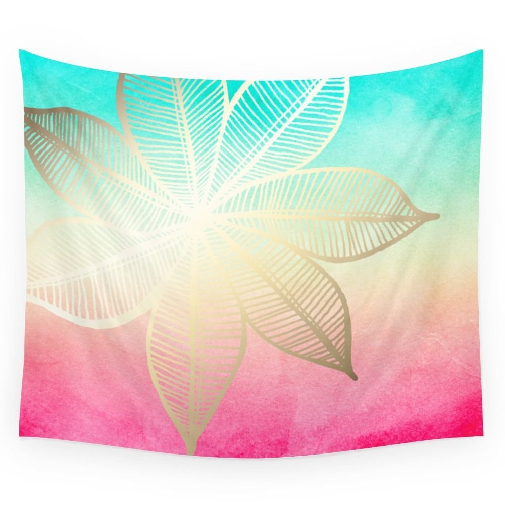 Gold Flower On Turquoise & Pink Watercolor Wall Tapestry Home Room Wall Decoration Bedspread Dorm Cover