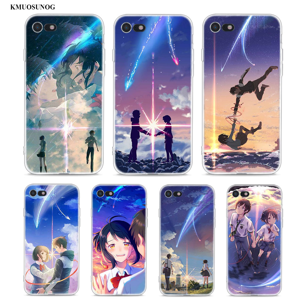 Transparent Soft Silicone Phone Case Japanese anime Your Name for iPhone XS X XR Max 8 7 6 6S Plus 5 5S SE in Fitted Cases from Cellphones Telecommunications