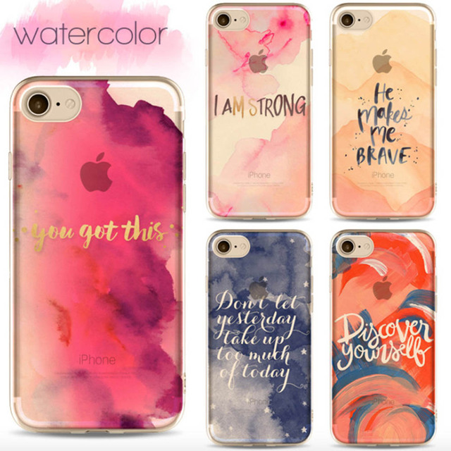 f33503d65d3 Phone Cases For iPhone SE Case Watercolor Painting Letters TPU Soft Back  Covers For iPhone 5s 6 6s Plus 7 8 Plus X Housing SF38