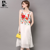 Spring Summer Runway Designer Womans Dresses Black White Silk Linen Dress Red Flower Bird Embroidery Chest