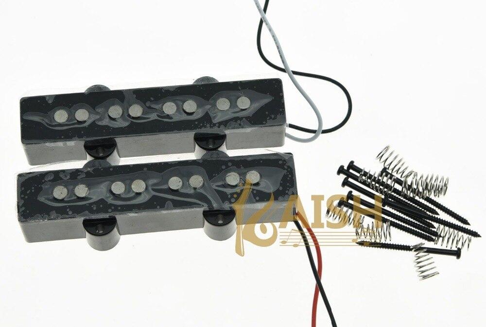 KAISH 4 String Jazz Bass Alnico 5 Pickups 60s Vintage Sound J Bass Pickup Set Black