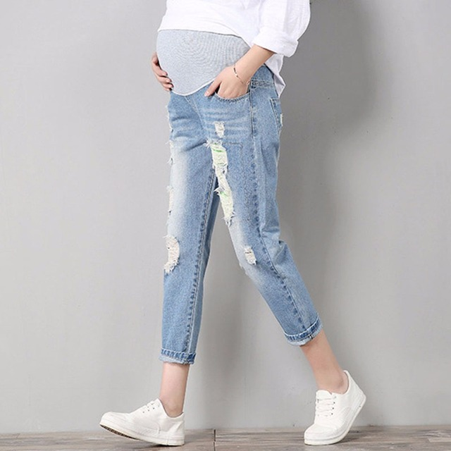 Jeans Maternity Comfortable Blue Cotton Denim Pants Pregnant Women Clothes Trousers Nursing Pregnancy Clothing Overalls high kid