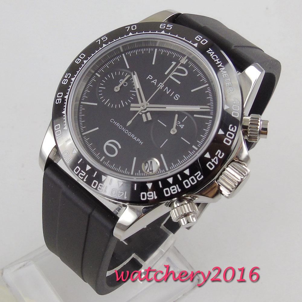 39mm PARNIS Black Dial Chronograph Rubber strap Sapphire Glass Quartz Movement men 39 s Watch in Quartz Watches from Watches