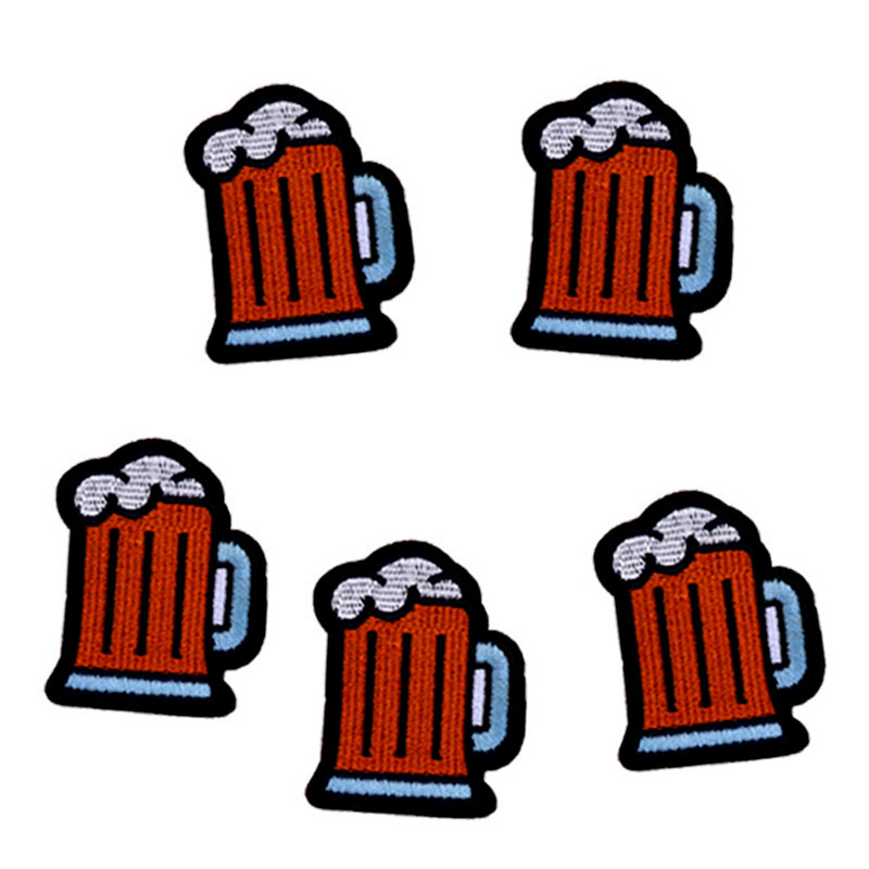 5pcs Beer Glass Embroidered Patches For Clothing Iron On Clothes Jeans Appliques Badge Stripes Sticker Ironing Applications DIY