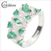 Vintage smaragdring SI grade natürlichen smaragd silber ring festen 925 silber smaragd ring königlichen edelstein silber ring für frau