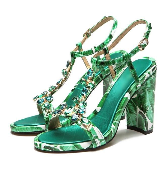 Bohemian Style Green Banana Leaf Print Leather Women Sandals Peep Toe Gem Decor Womens Square Heel T-bar Ankle Strap