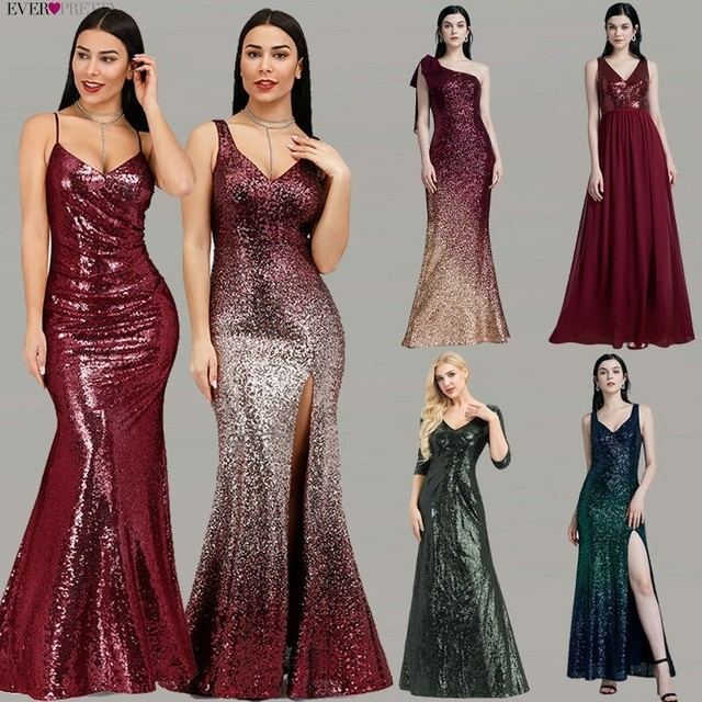 Robe De Soiree Longue Ever Pretty Cheap Little Mermaid Burgundy Red Sexy Evening Dresses Sequined Sparkle Plus Size Party Gowns 2