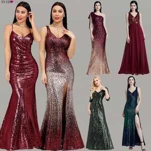 Image 2 - Robe De Soiree Longue Ever Pretty Cheap Little Mermaid Burgundy Red Sexy Evening Dresses Sequined Sparkle Plus Size Party Gowns