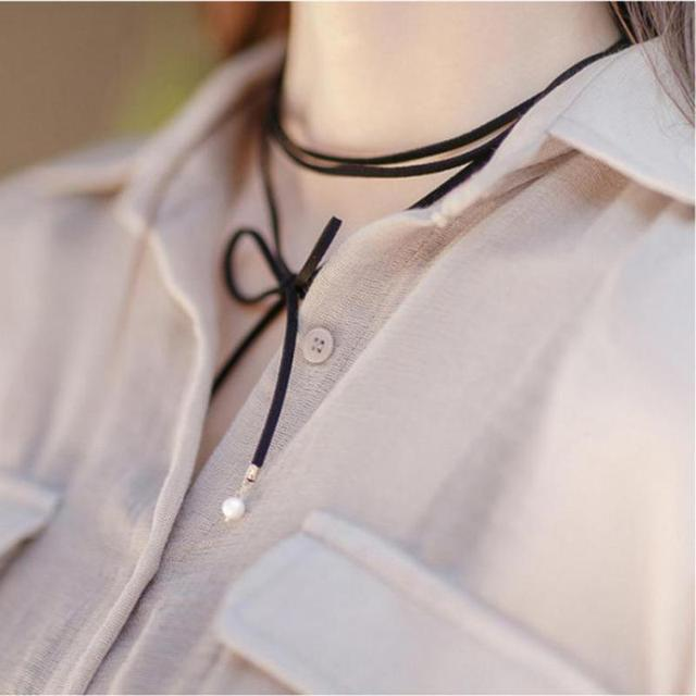 New Korean Fashion Personality Wild Tidal Range Of Sub-rope Necklace Imitation Pearl Necklace Pendant Diy Creative Energy Choker
