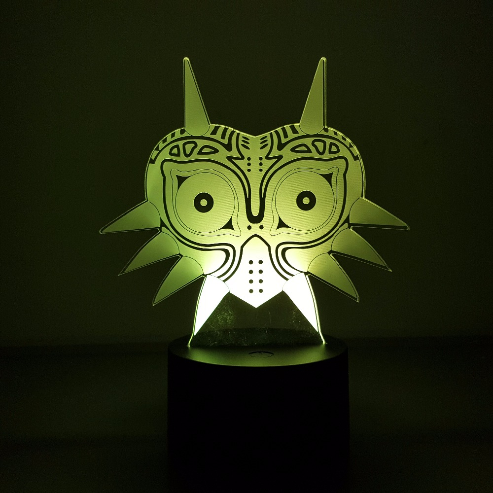 The Legend of Zelda 3D Visual Illusion LED Majora's Mask 7 Color Changing USB Nightlight Link Action Figure Anime Game Toy