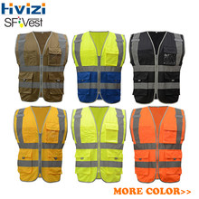 Hivizi High Visibility Reflective Safety Vest Workwear Waistcoat With Multi Pockets For Construction Traffic Cycling 8 Colors(China)