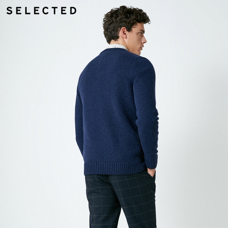 SELECTED Men's Autumn Wool-blend Round Neckline Knitted Pullover C|418325501