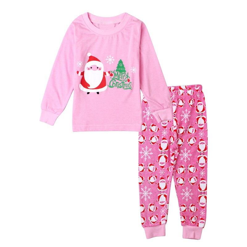 Christmas Santa Claus Pajamas Girls Clothing Sets Pink Cotton Kids Pijamas Children Sleepwear Suits Spring Autumn Outfits