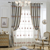 New high grade American countryside pastoral chenille jacquard splicing fabric living room bedroom curtains