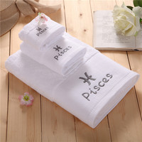 Ultra Soft Fade Resistant Cotton 3 Piece Towel Set Shower Bath Towel Hand Towel Washcloth White with Embroidered Zodiac Pisces